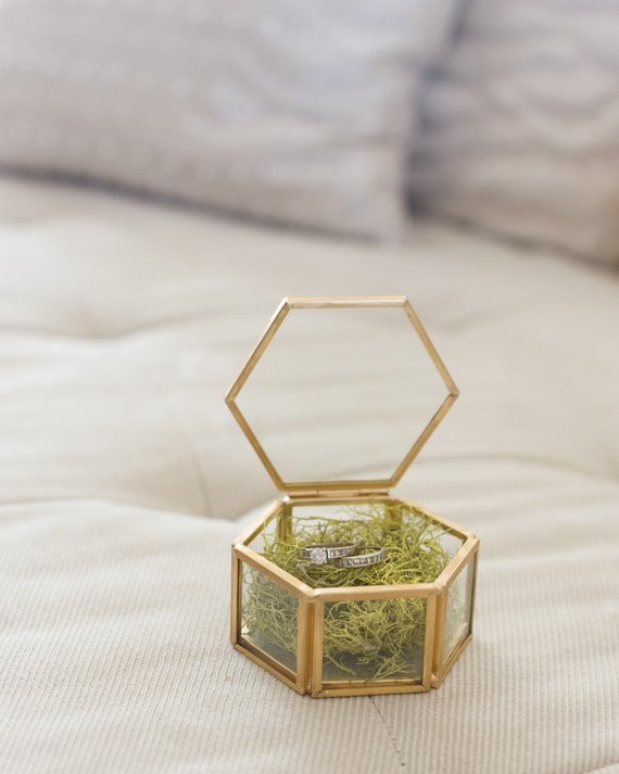 gold glass wedding ring bearer box