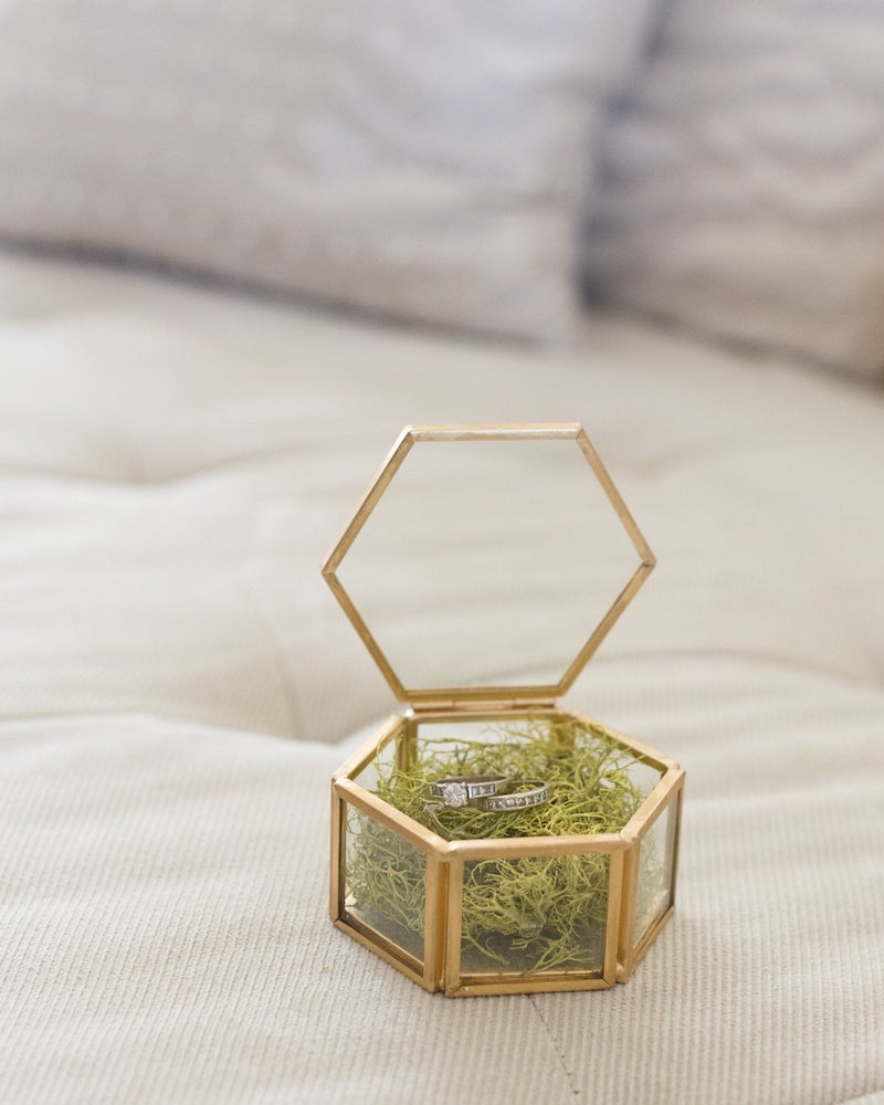Simple Gold and Glass Wedding Ring Box