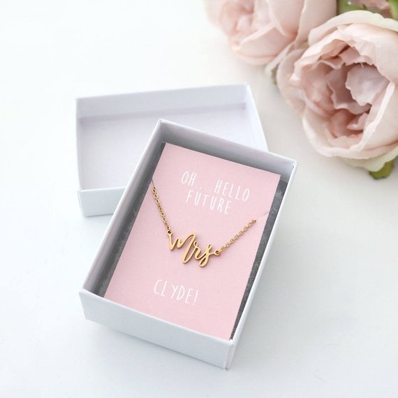 gold mrs. custom necklace bride to be wedding engagement jewelry