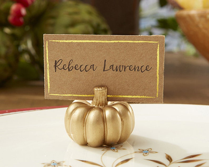 Gold Pumpkin Place Card Holders