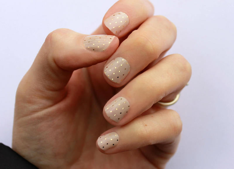 Gold Swiss Dot Nail Art