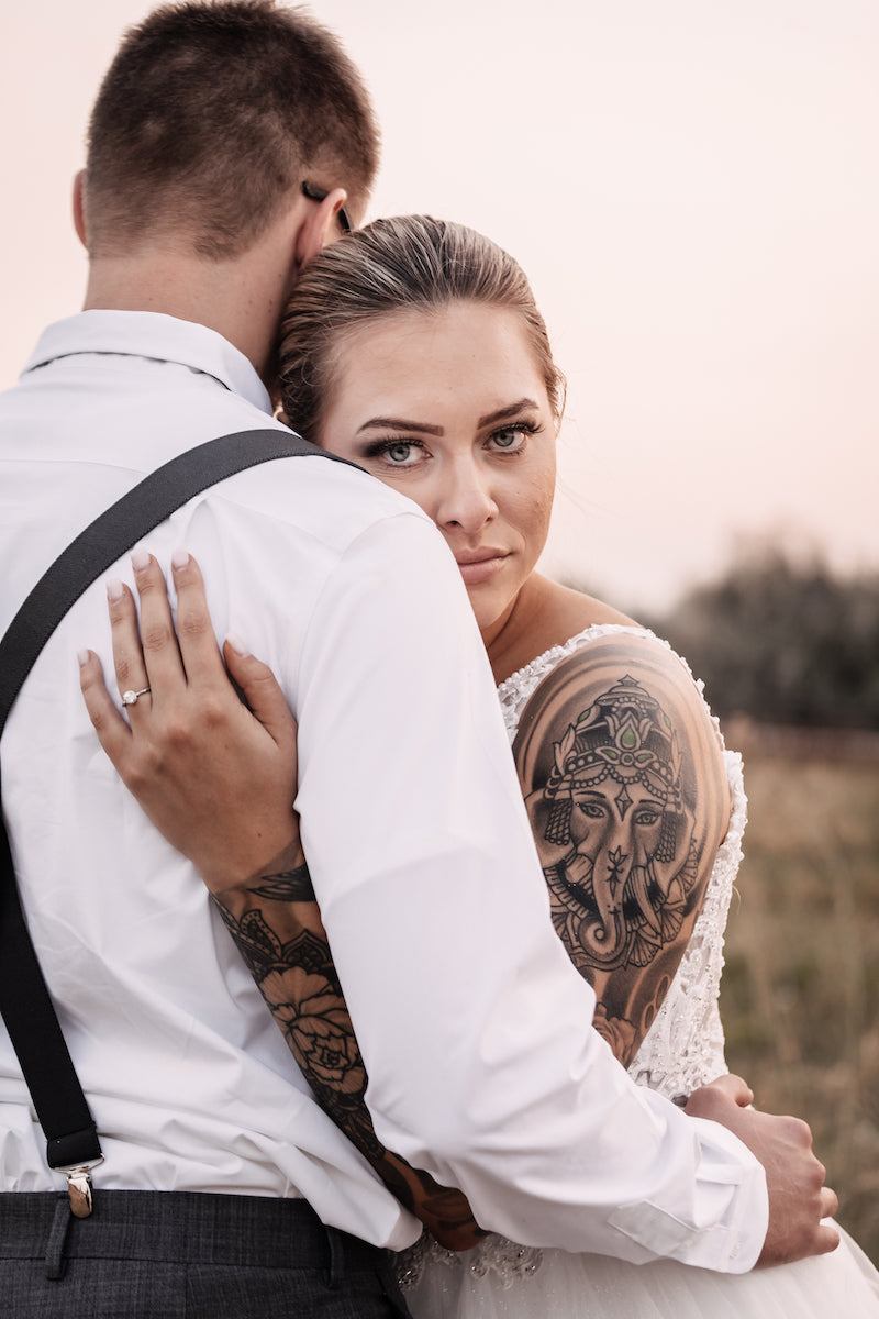 Golden Hour Bride and Groom Bride Tattoos