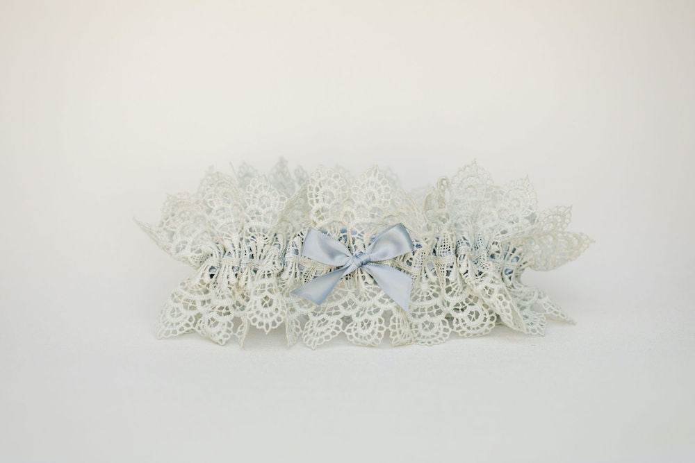wedding garter heirloom handmade with the bride's grandmother's lace by The Garter Girl