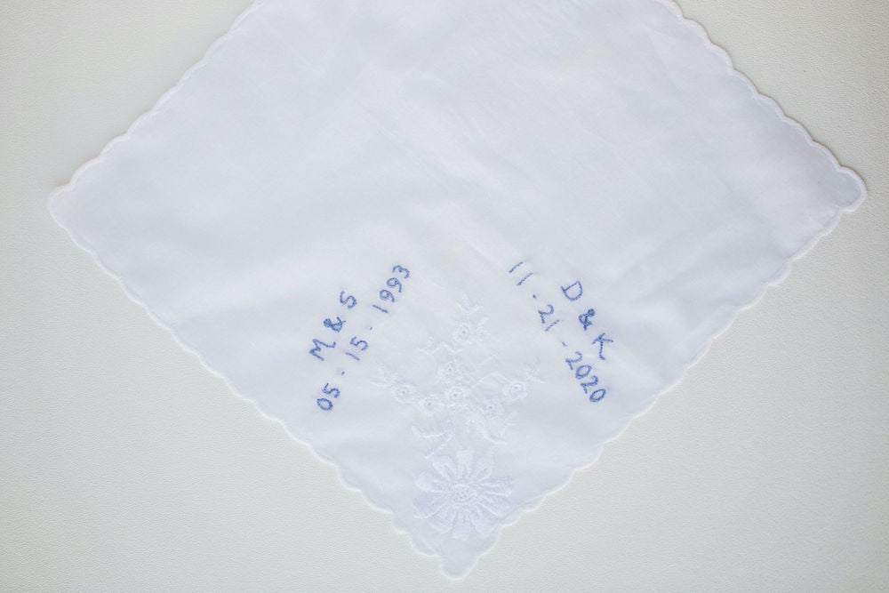 grandmother's wedding handkerchief personalized with mom's and bride's wedding date and initials by The Garter Girl
