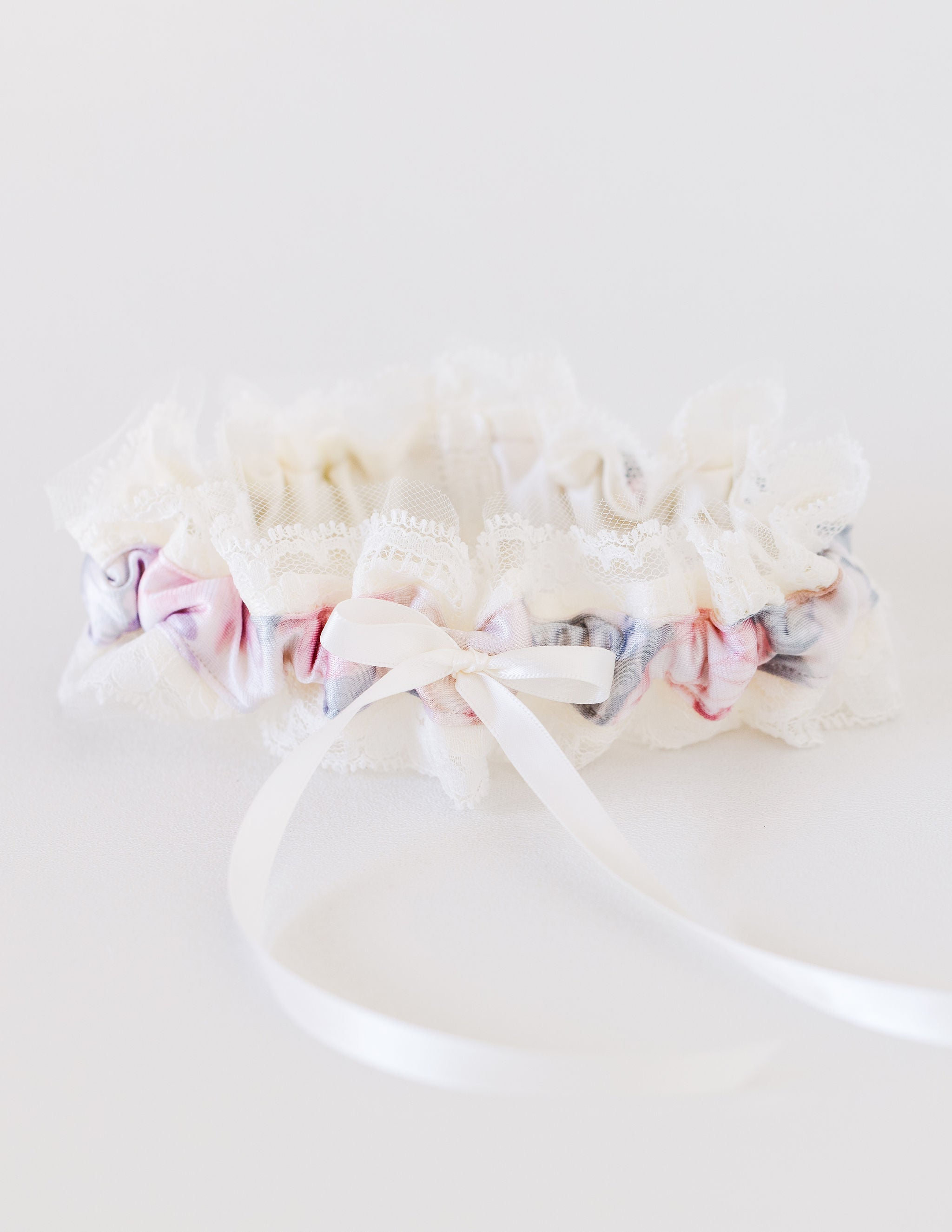 custom wedding garter heirloom made from the bride's grandmother's silk floral robe by The Garter Girl