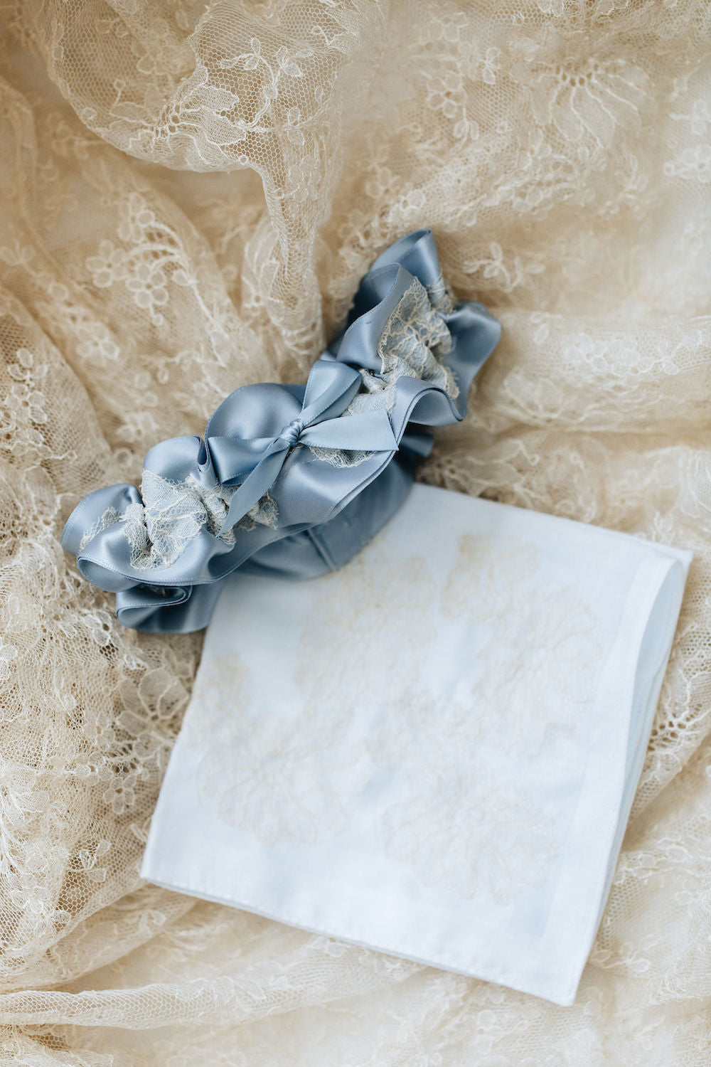 wedding garter & handkerchief handmade from bride's grandmother's lace veil - wedding heirloom by The Garter Girl