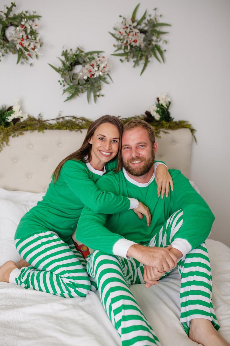 Green Stripe Matching Holiday Pajamas for Couple