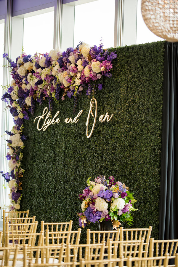 Greenery and Purple Flower Backdrop Wedding