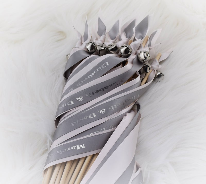 Gray Ribbon Wands for Wedding Exit