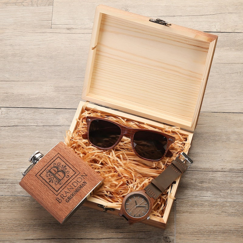 Groomsmen Gift Box with Sunglasses Watch and Flask