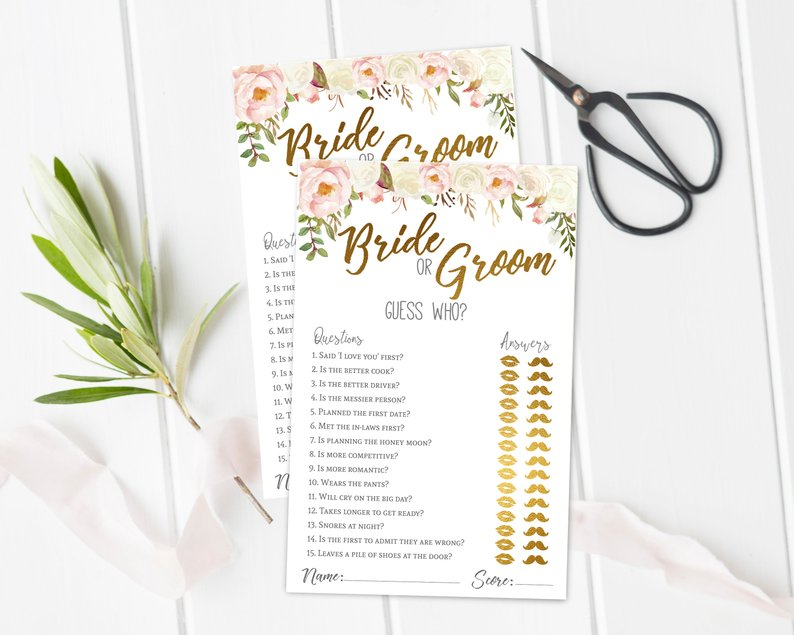 guess who bridal shower game