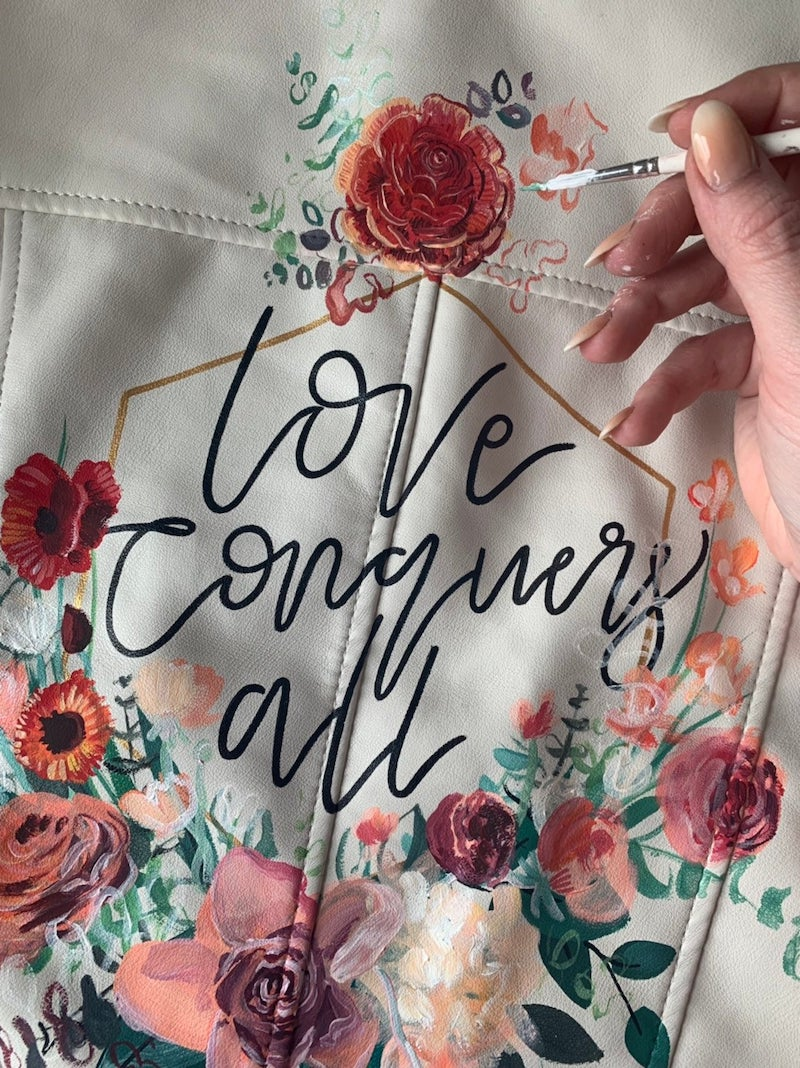 Hand Painted Leather Jacket for Wedding