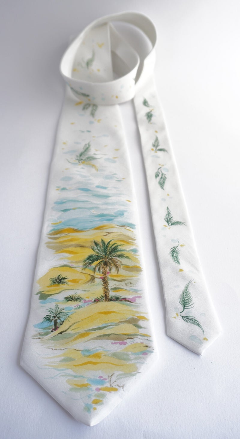Hand Painted Palm Tree Silk Tie