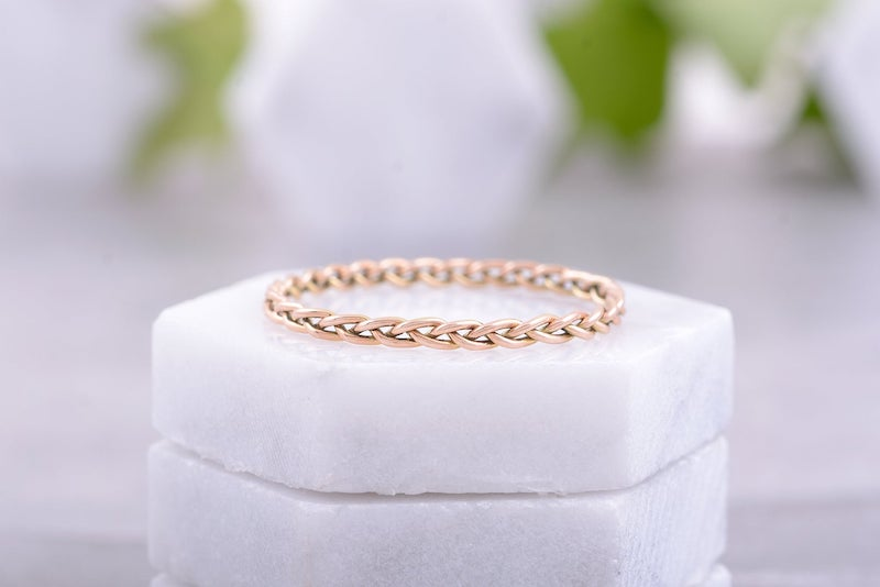 Handmade Braided Wedding Band in Gold Wedding Ring for Her