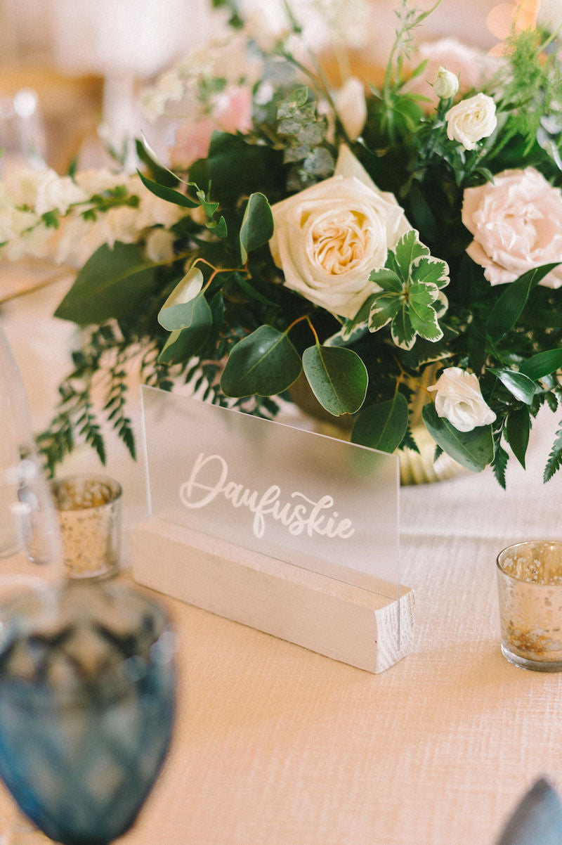 Handwritten Acrylic Table Names