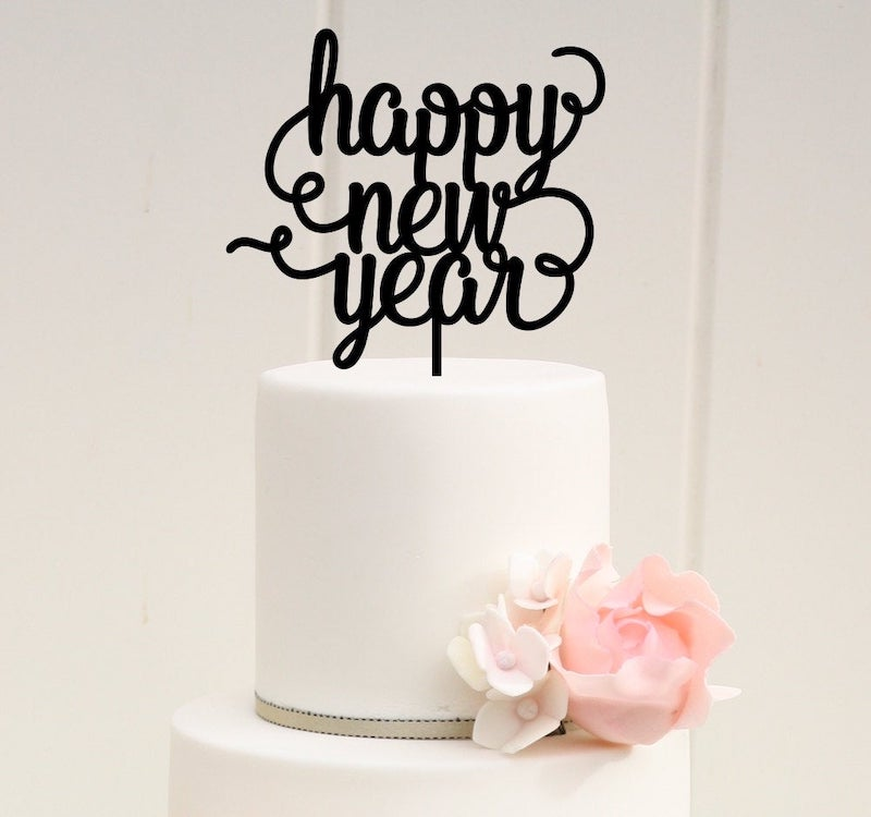Happy New Year Wedding Cake Topper
