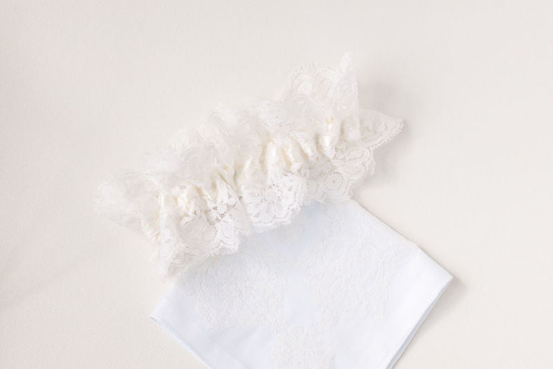 personalized bridal garter and hanky made with mother's wedding dress lace