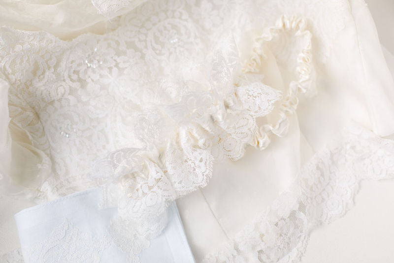 personalized bridal garter made with mother's wedding dress lace