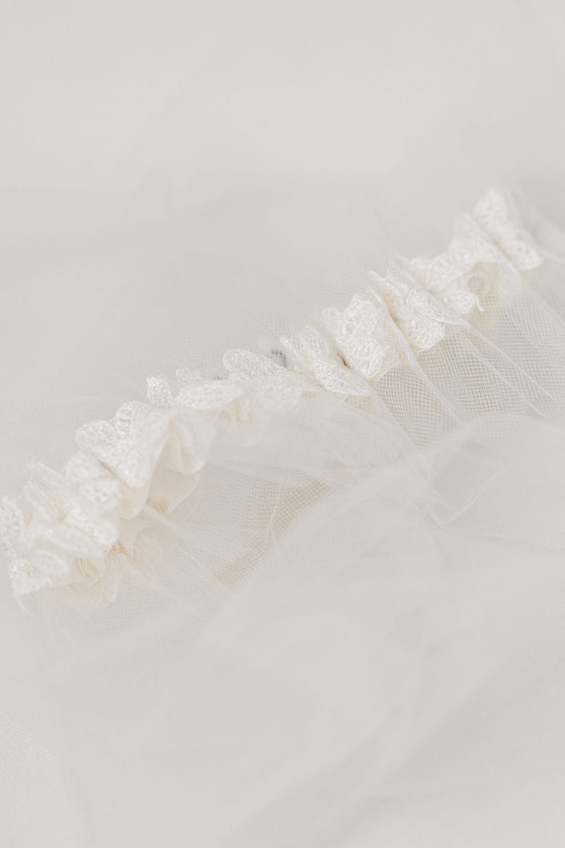wedding garter made from bride's mother's veil