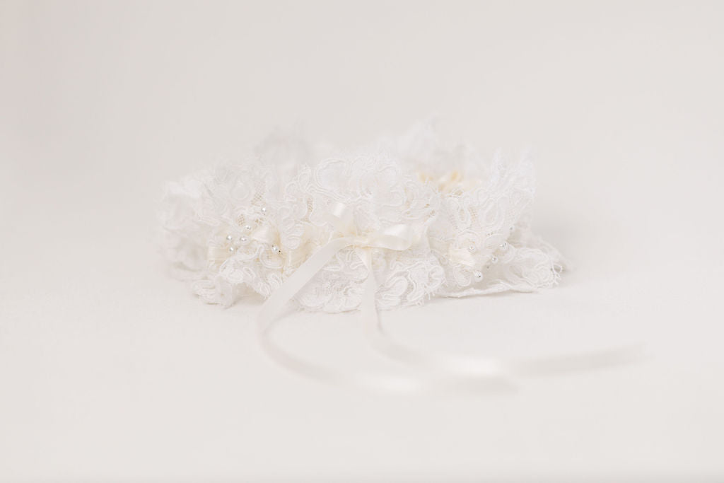 heirloom wedding garter hand made from the bride's mother's wedding dress by The Garter Girl