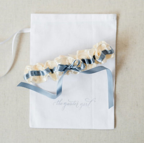 stylish something blue wedding garter by The Garter Girl