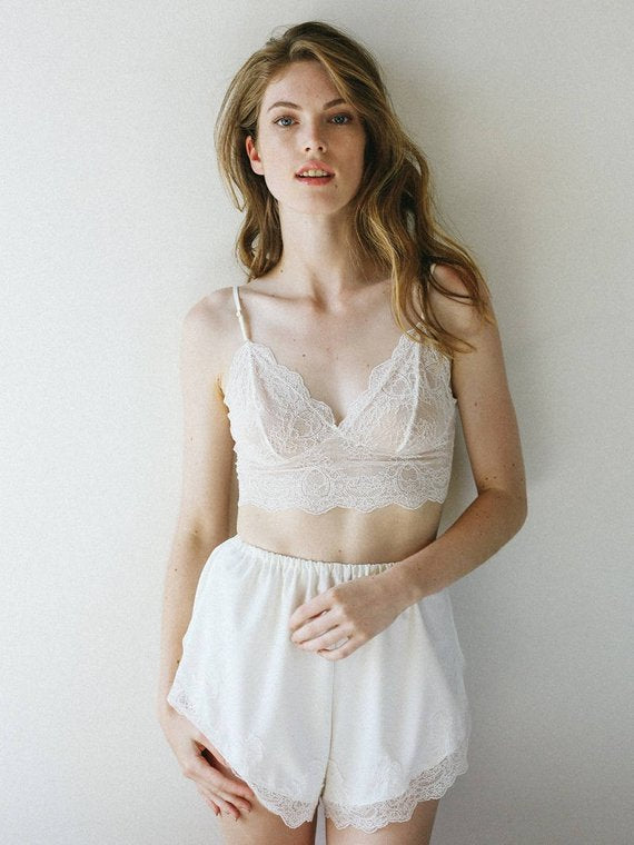 high waisted lingerie short set bridal wedding night lingerie