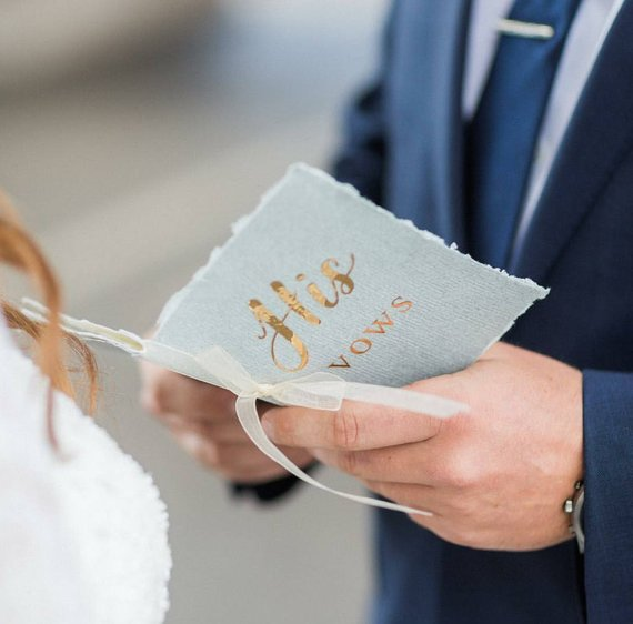 his hers gold wedding vow book