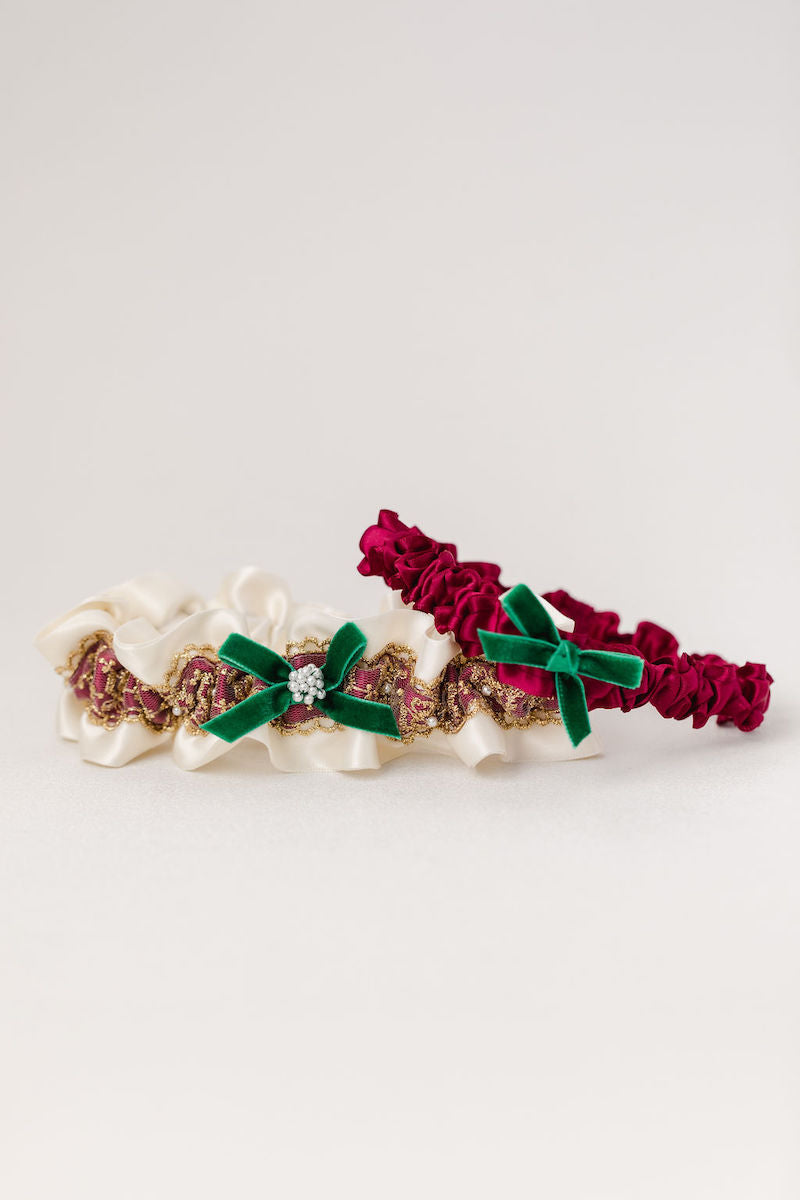 holiday themed wedding garter set with gold lace, pearls and velvet from The Garter Girl
