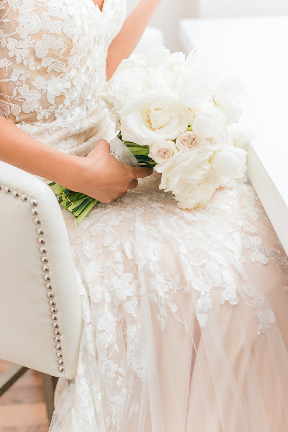 white bridal bouquet with tips for how to handle the holidays with wedding planning - The Garter Girl