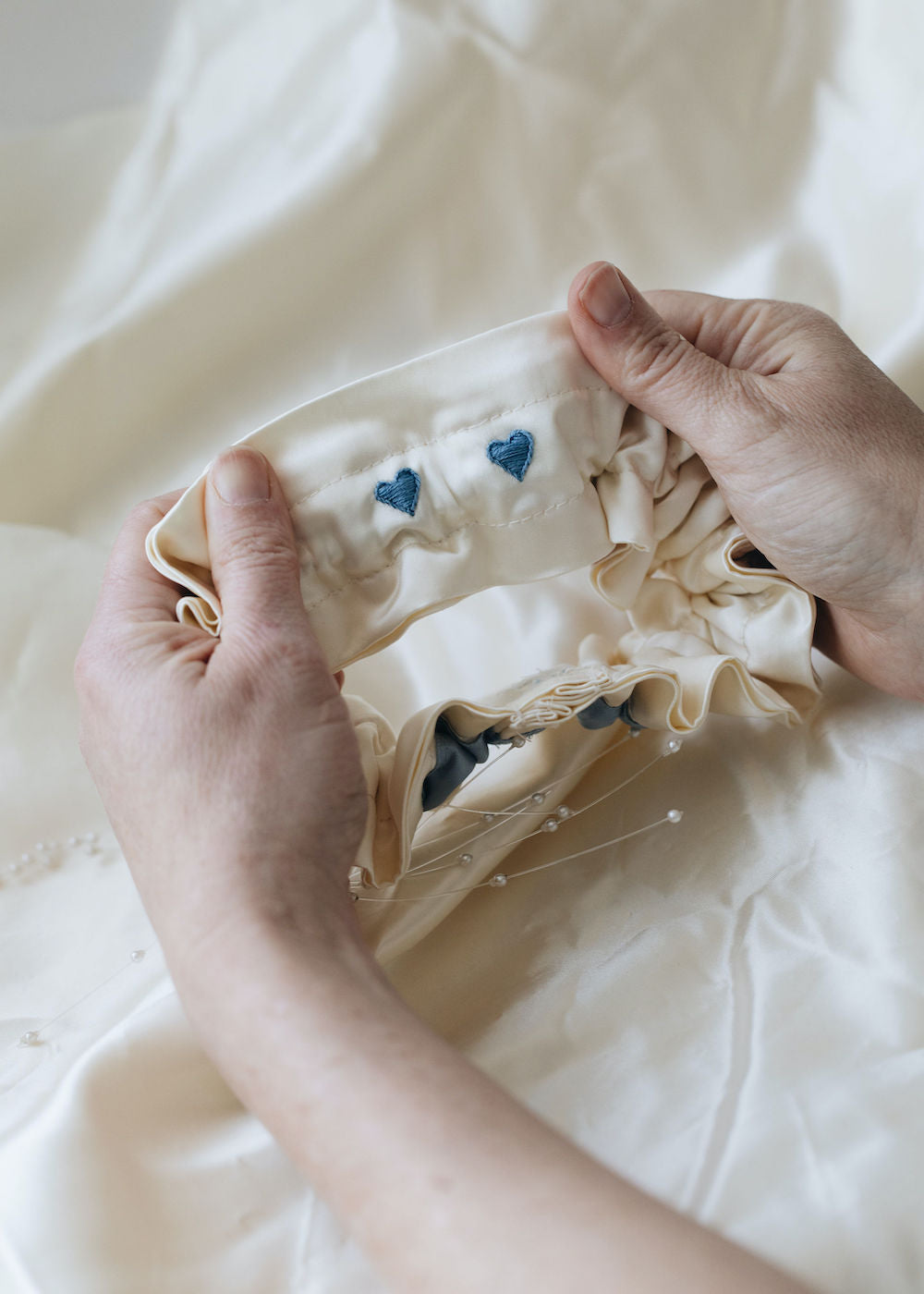 how to use great grandmother's satin wedding dress material - heirloom wedding garter with pearls & something blue handmade by The Garter Girl