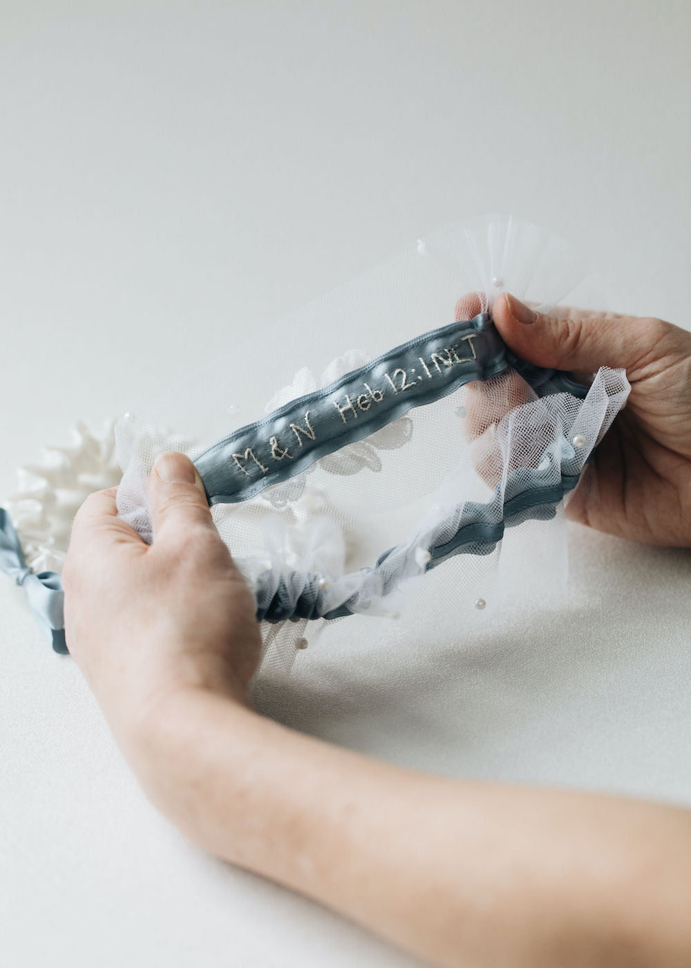 what to do with mother's bridal veil - tulle, lace & pearl wedding garter set with personalized embroidery - handmade heirlooms by The Garter Girl