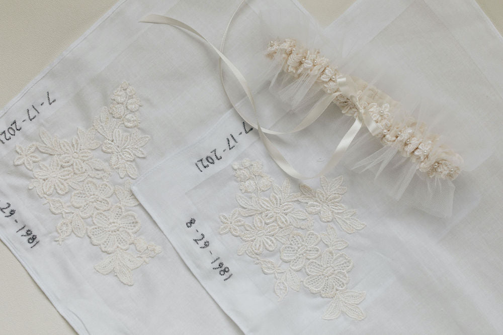 how to use your mom's wedding dress with custom wedding garter and personalized handkerchiefs by expert bridal heirloom designer, The Garter Girl