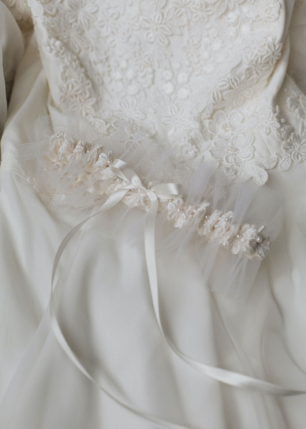 how to use your mom's wedding dress with custom wedding garter and personzlied handkerchiefs by expert bridal heirloom designer, The Garter Girl