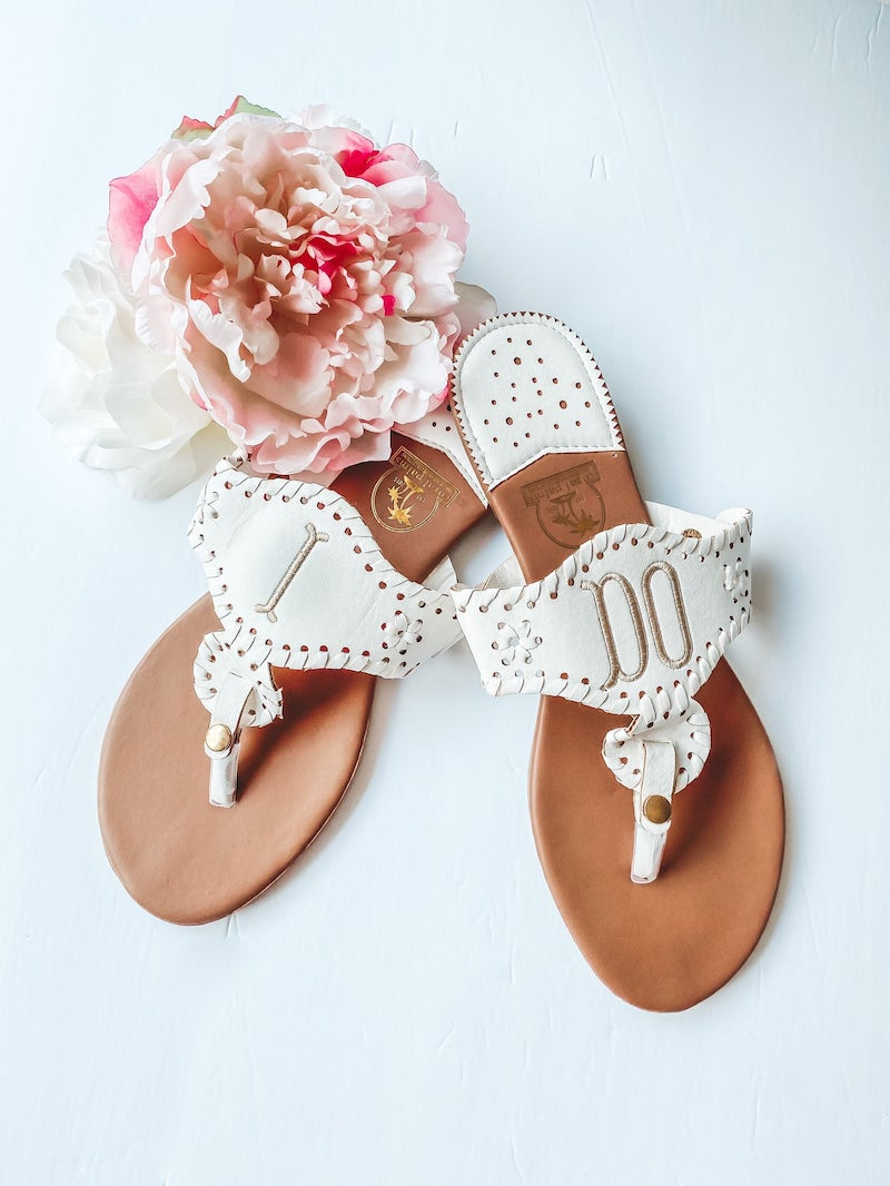 I Do Embroidered Wedding Sandals