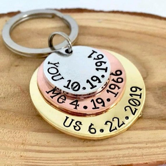 important dates key chain wedding engagement gift for groom