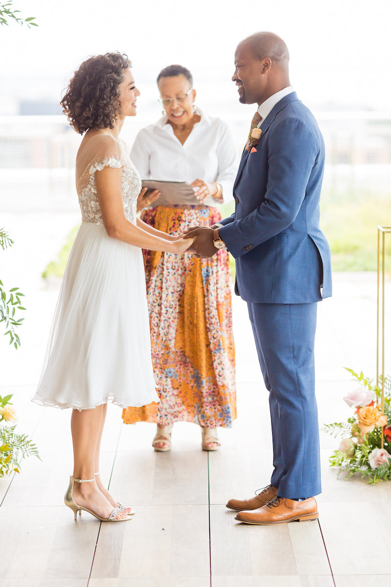Intimate Vow Renewal Ceremony with Tea Length Dress