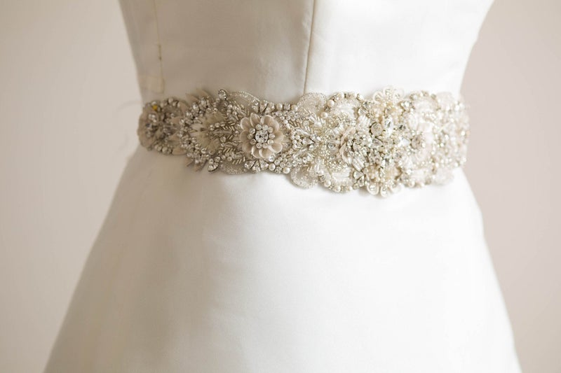 Hand Embroidered Bead and Stone Bridal Sash