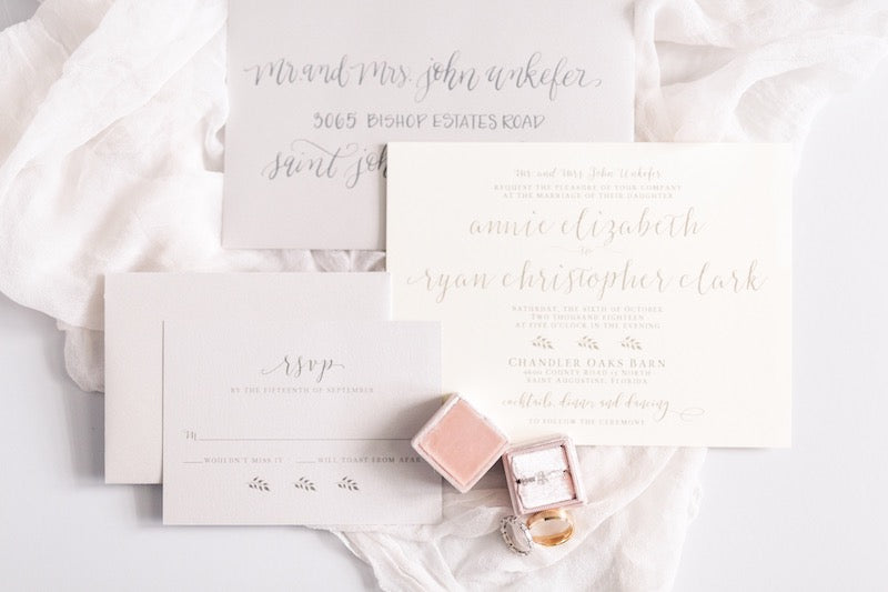 white, gray and blush wedding invitation suite - Florida wedding