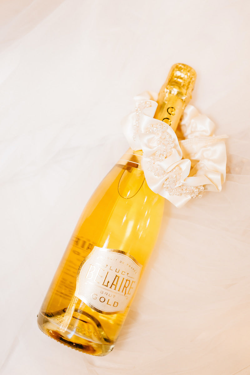 Ivory and Pearl Wedding Garter with Champagne Bottle