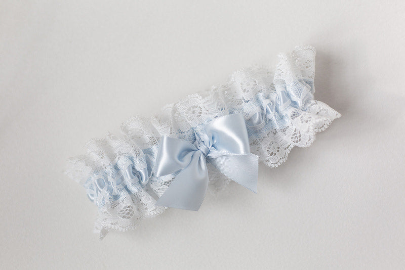 custom wedding garter with light blue and ivory lace