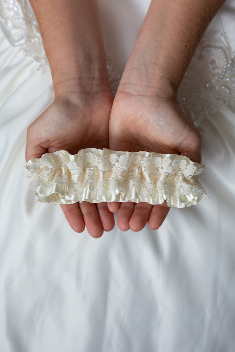 modern lace and satin bridal garter