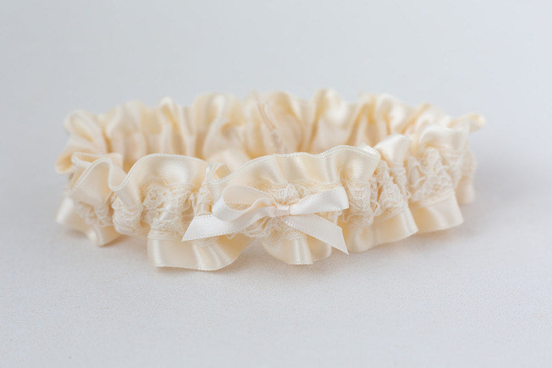 ivory satin and lace wedding garter for the bride