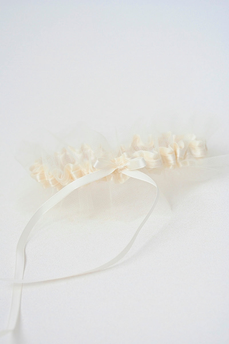 ivory tulle and satin custom wedding garter
