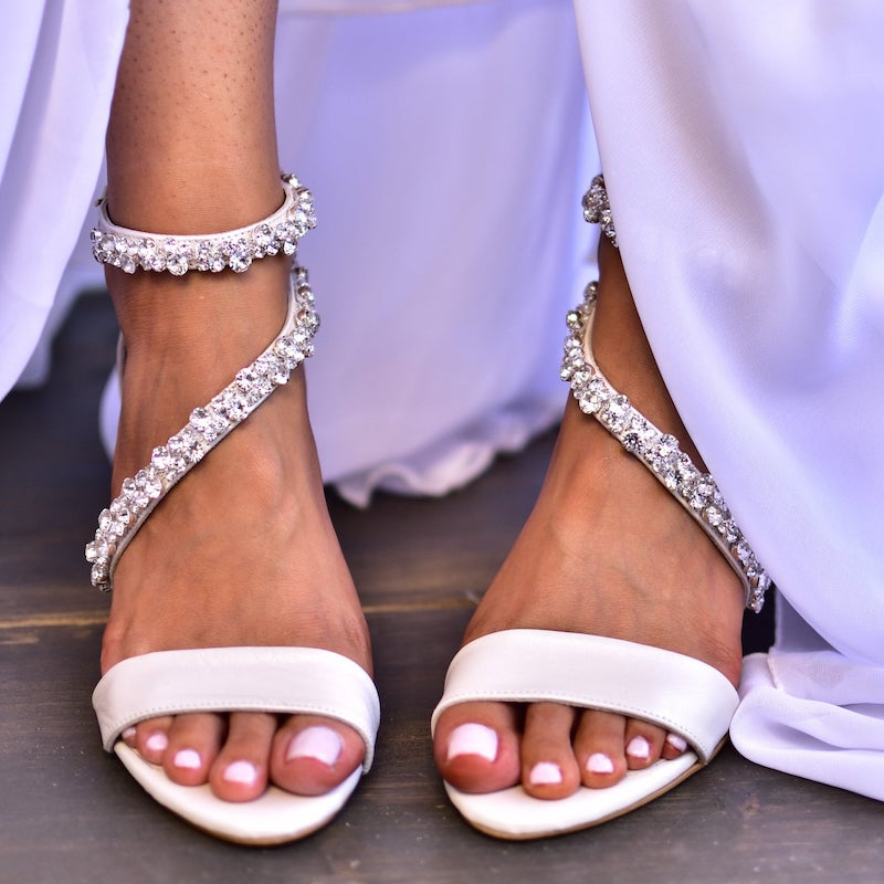 Jeweled Bridal Sandal Heels
