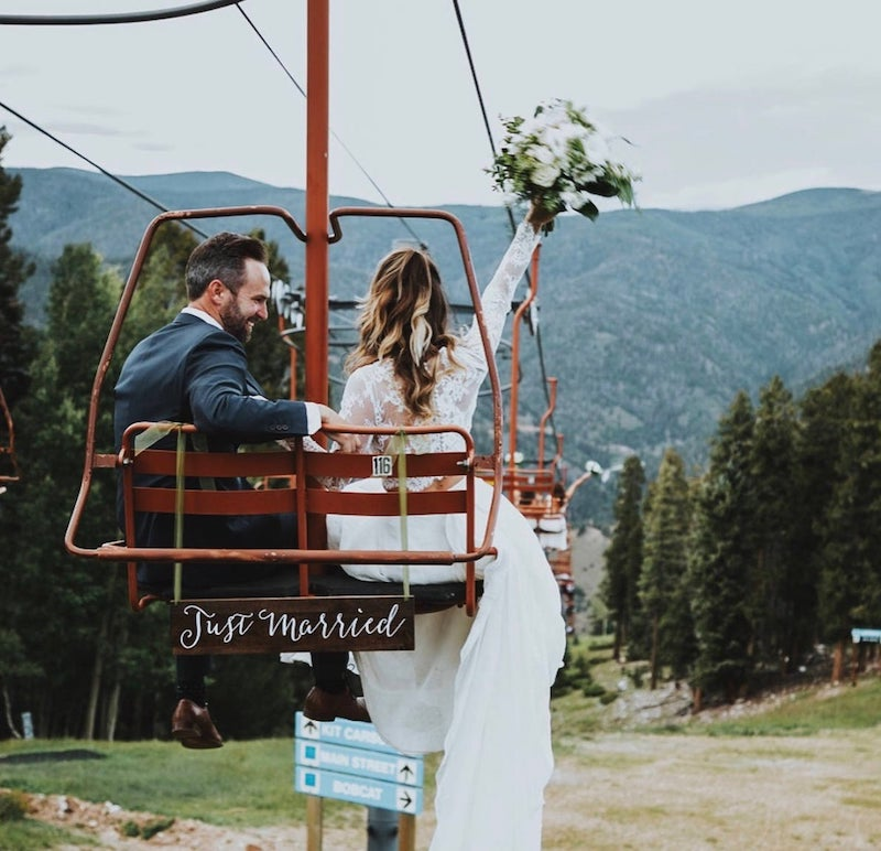 Just Married Sign Ski Lift Outdoor Wedding