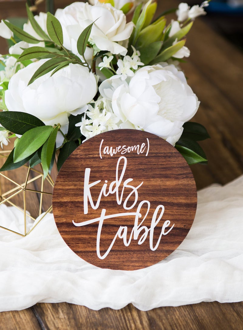 Kids Table Wood Wedding Sign