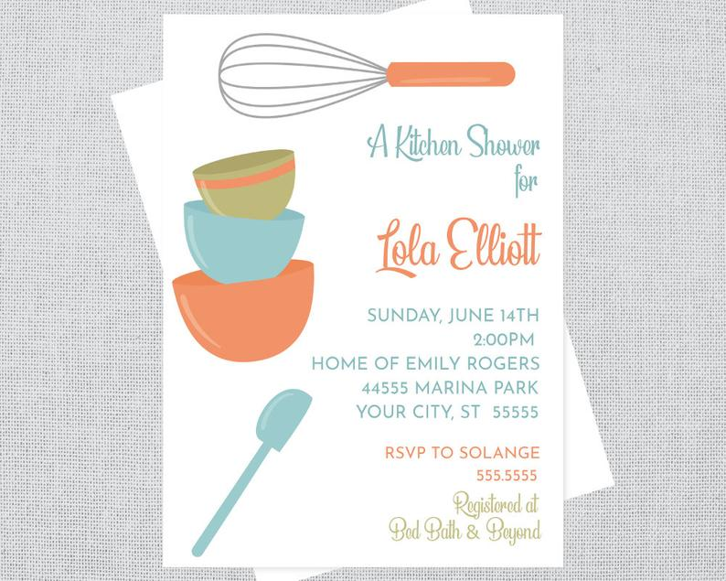 kitchen and cooking themed bridal shower invitation