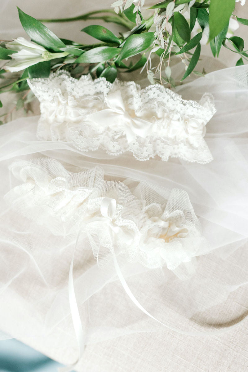 Lace and Tulle Wedding Garters with Bridal Veil