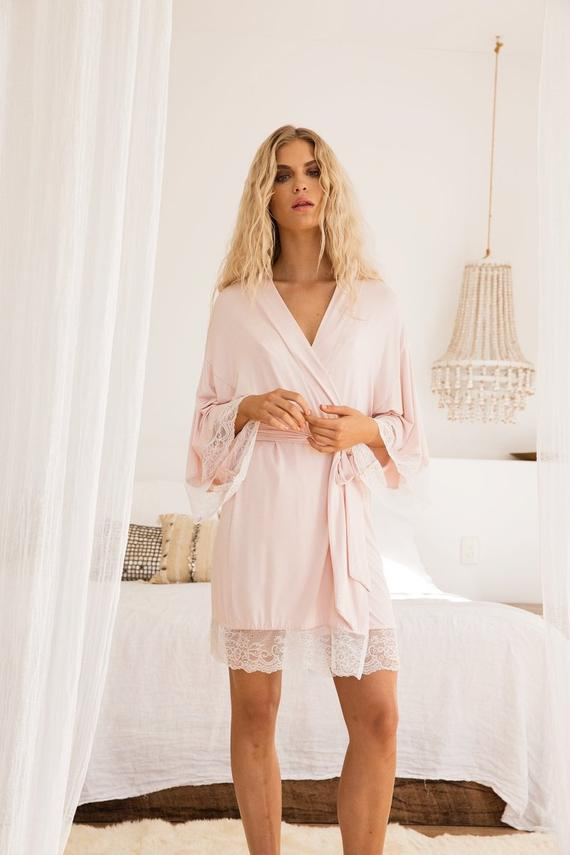 blush lace bridal wedding robe