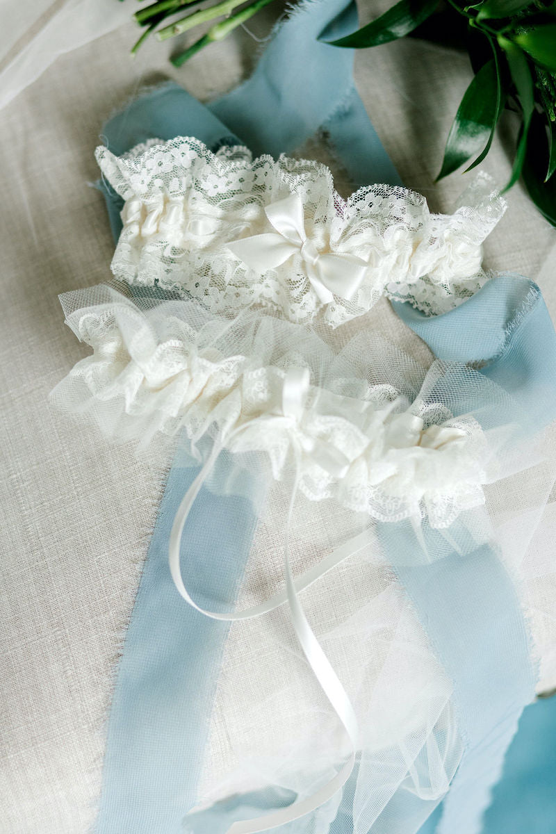 Two Bridal Garters with Lace and Tulle